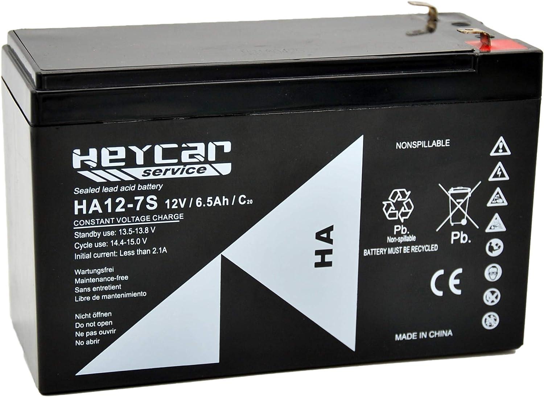 HEYCAR - Batería de Plomo AGM para aplicaciones estacionarias. 12V / 7,2Ah. Capacidad de descarga 108 A 1,92 Kg. 151 x 65 x 94 mm