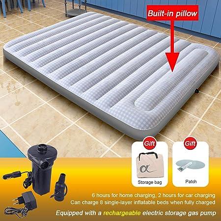 Double//Simple Gonflable Floqué Air Lit Camping Matelas pompe électrique oreiller