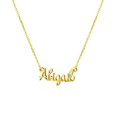cbf961d9e Yiyang Personalized Name Necklace 18K Gold Plated Stainless Steel Jewelry  Birthday Gift for Girls Abigail