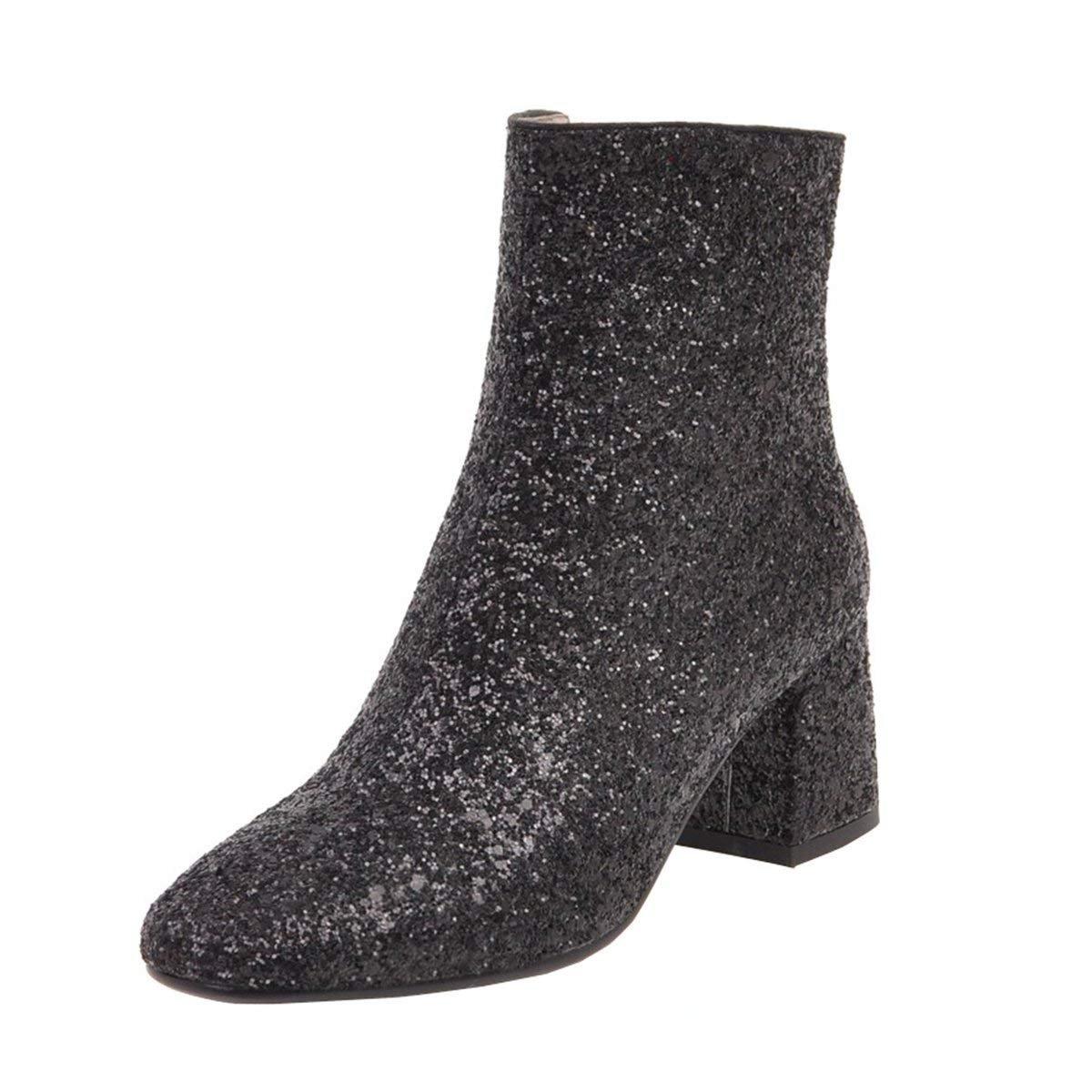 YE Chaussure Elegante Ankle Botte Boots Bottine Mariage Paillette Femme Bout Pointu Mi Talon Bloc Chunky Heels Zip Courte Hiver