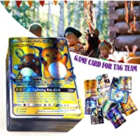 cary-yan 120 pcs Poke Cards TCG Style Card, Mega Cards, Includes 80 Tag Team Card 20 Mega Cards 20 Ultra Beast GX Children's Visual Perception Skills Development Cards for Mega Cards GX Cards Tag here
