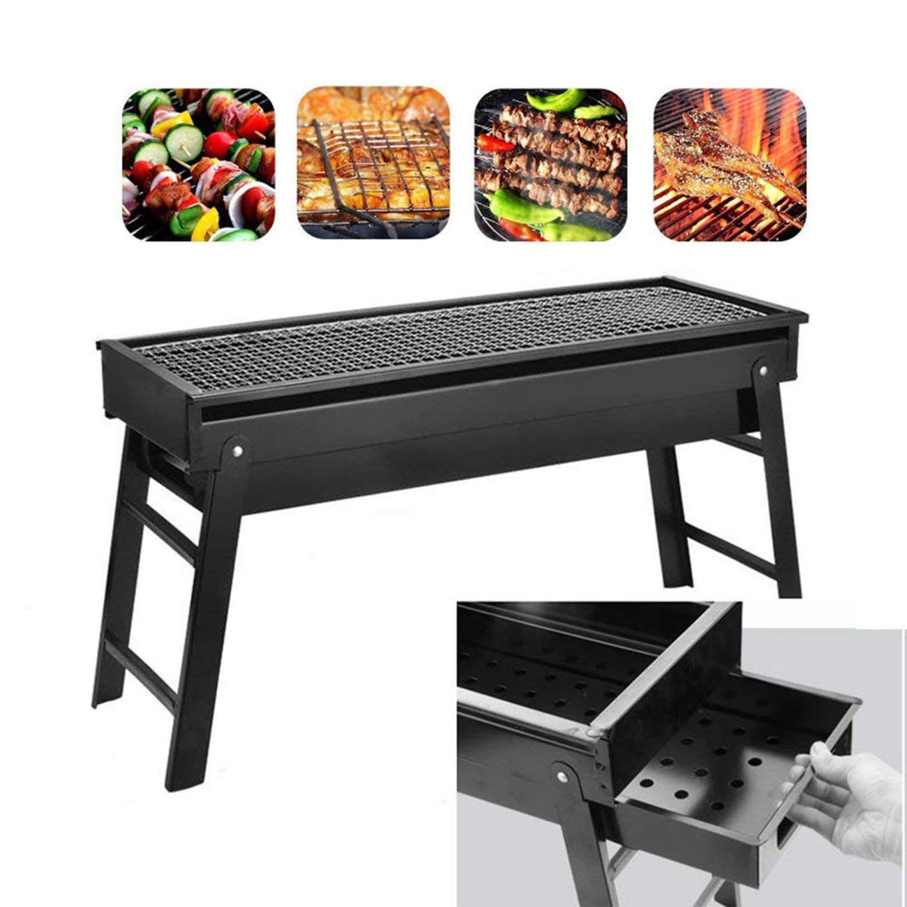 Dyna-Living Charcoal Barbecue Grill, Portable Stainless Steel BBQ Grills Foldable Charcoal Grill for Outdoor Camping Picnics Garden Cooking Vegetables Burgers Fish Shrimp Steaks