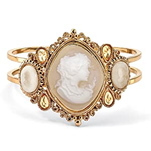 Vintage-Style Lucite Cameo Hinged Bangle Bracelet in Yellow Gold Tone