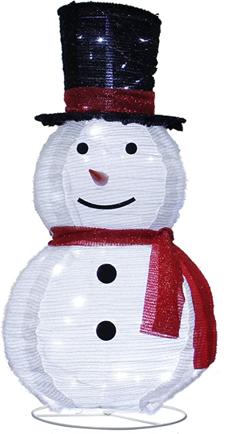 Atdawn 3ft Pre Lit Light Up Snowman With Black Top Hat Christmas Collapsible Snowman Outdoor Decoration 60 Led Outdoor Lighted Snowman Christmas Yard Decorations Garden Outdoor