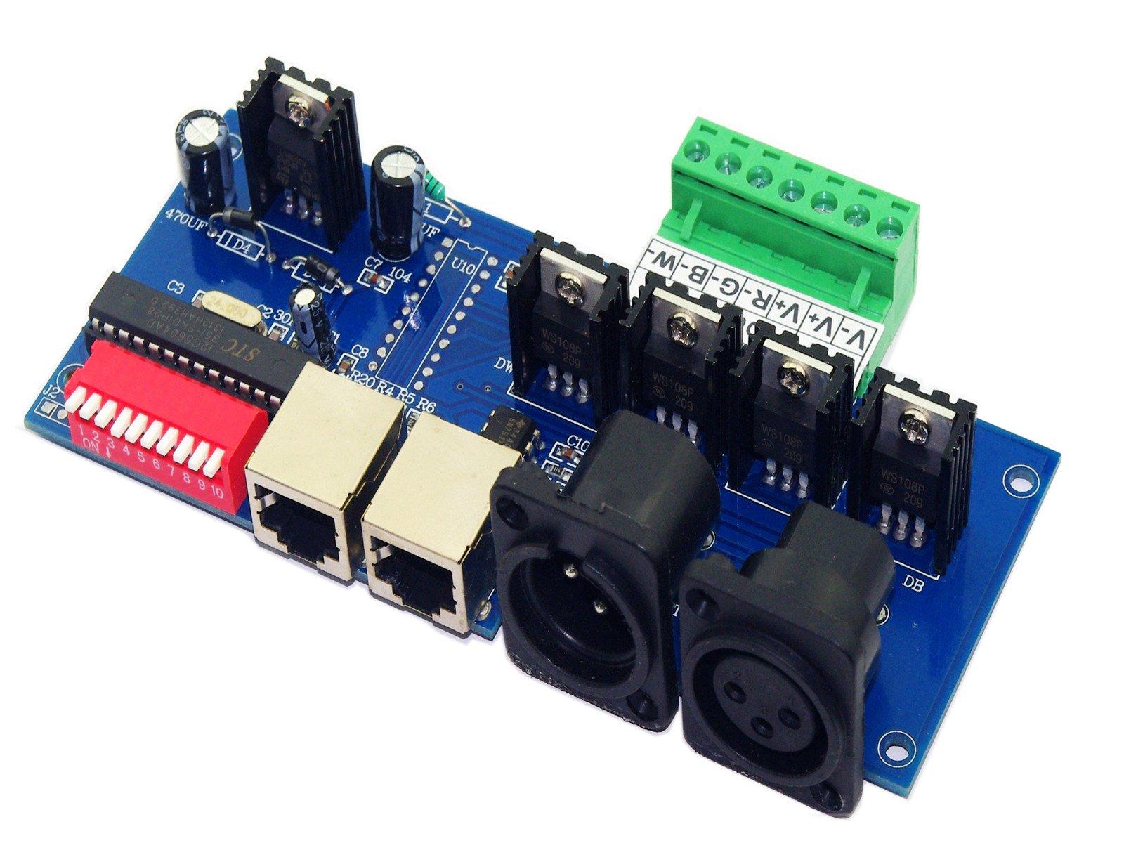 DMX512 RGBW 4 Channel DMX Controller Decoder Screw Terminals DIP Switch Common Anode