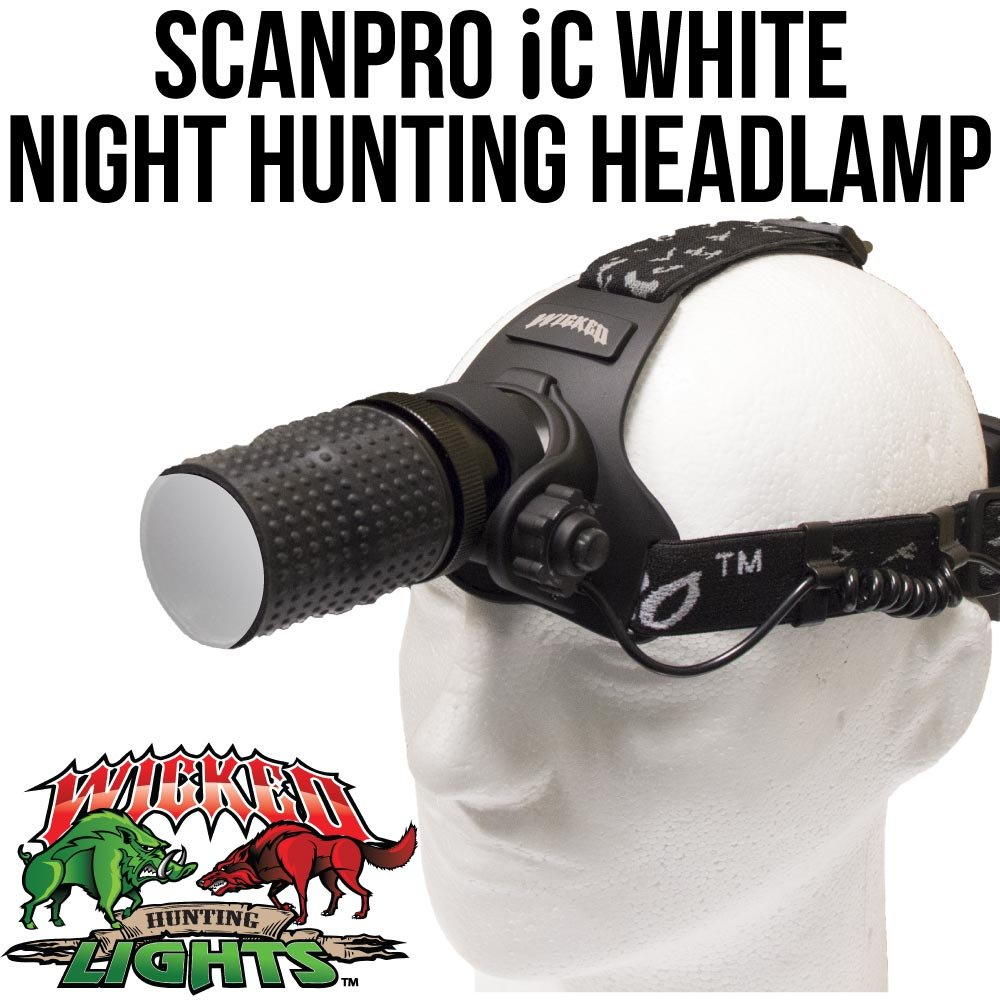 Wicked Lights ScanPro IC Night Hunting Headlamp with WHITE Intensity Control LED for coyote, predator, and hog hunting