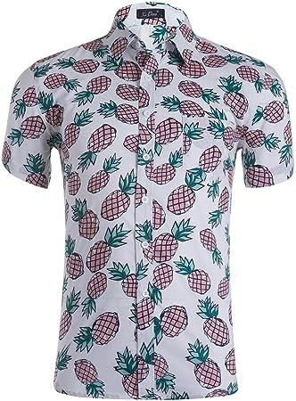 Camisa de los hombres Camisa hawaiana de manga corta para hombre con estampado de piña y