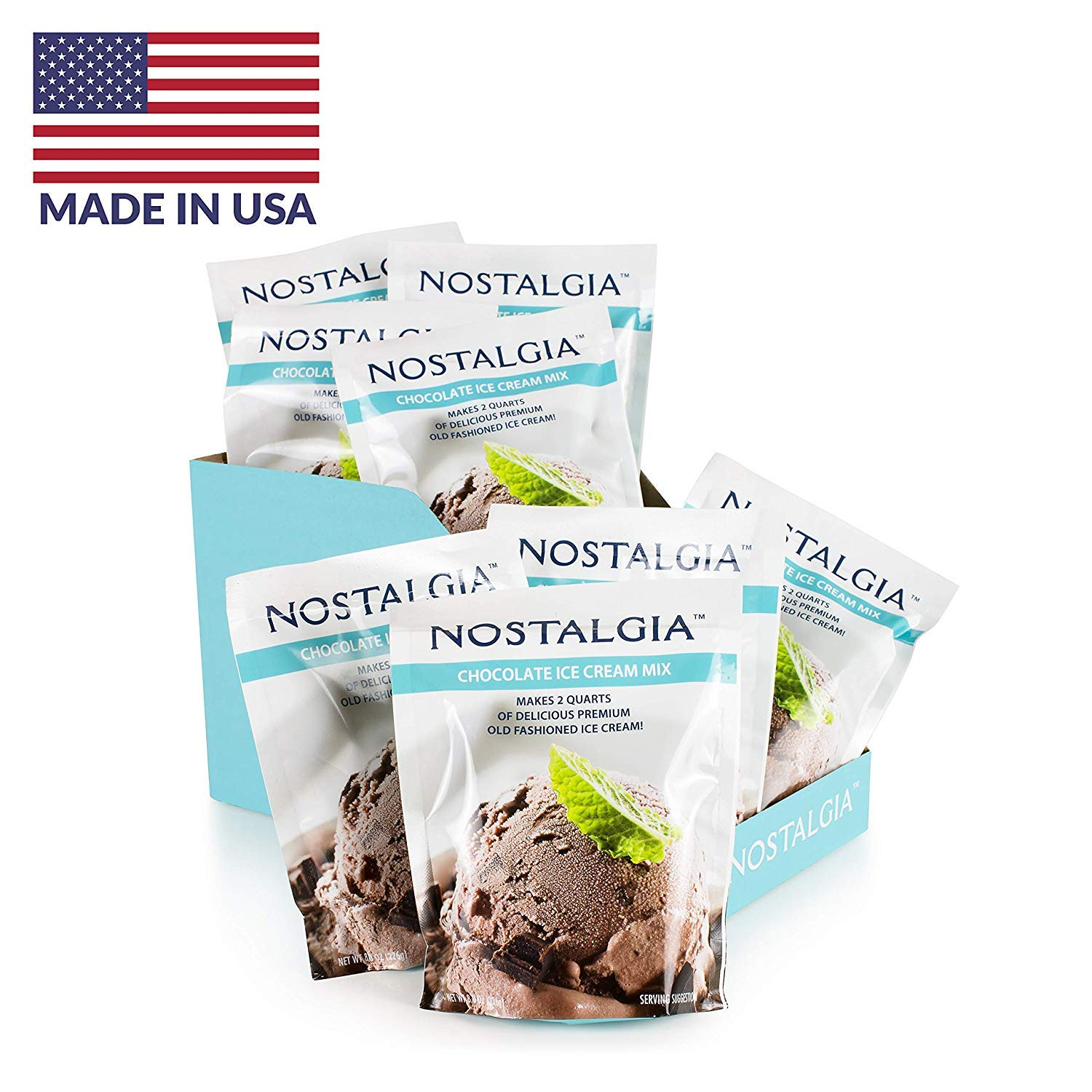 Nostalgia ICP825CHOC8PK Premium Chocolate Ice Cream Mix, 8 (8-Ounce) Packs, Makes 16 Quarts Total