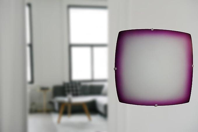 Plafoniere Viola : Plafoniera quadrata vetro decorazione bordo viola amazon