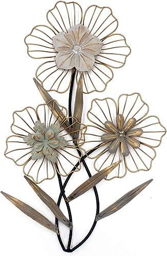 Funerom Vintage 14.6 23.6 inchs Metal Flowers Wall Decor ,Metal Flower Wall Art