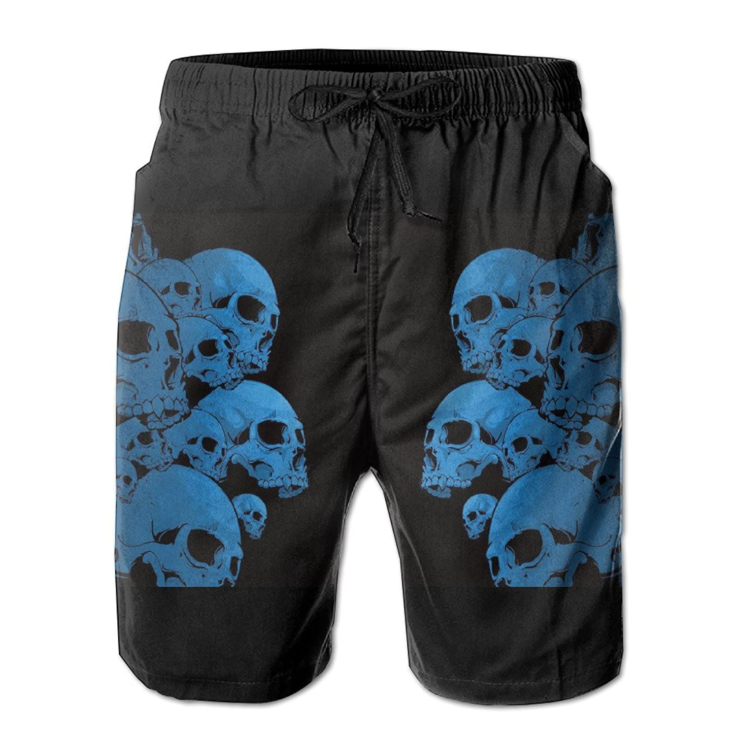 2017 Newest Men's Blue Trippy Skull Quick Dry Beach Board Shorts