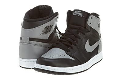 51755706c82518 Jordan Nike Mens Air 1 Retro High OG Shadow Black Soft Grey Leather  Basketball Shoes