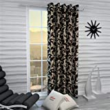Home Sizzler Eyelet Polyester Single Window Curtain, 5ft (Brown)