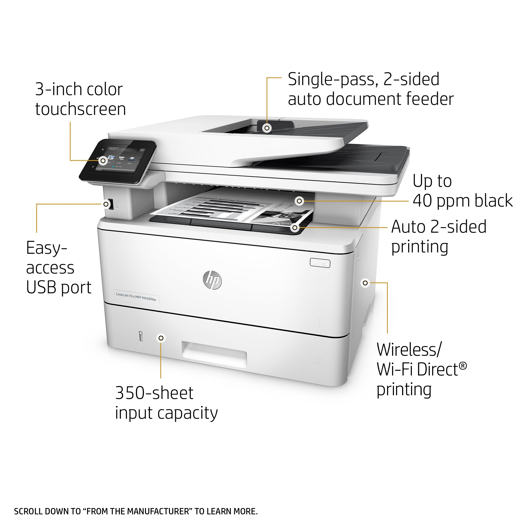HP LaserJet Pro M426fdw All-in-One Wireless Laser Printer with Double-Sided Printing, Amazon Dash Replenishment ready (F6W15A) by HP (Image #1)