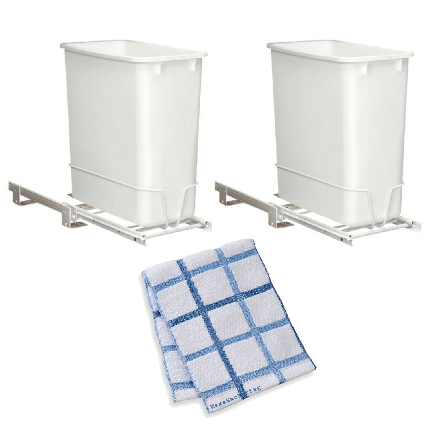 Rev-A-Shelf - RV-814PB - Single 20 Qt. Pull-Out White Waste Container with Adjustable Frame, 2-Pack with Kitchen Dish Cloth