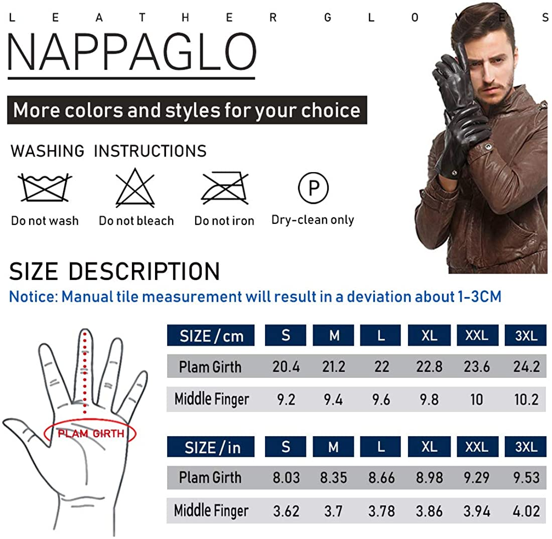 Nappaglo Mens Leather Driving Gloves Italian Lambskin Half Finger Fingerless Unlined Gloves for Motorcycle Cycling Riding
