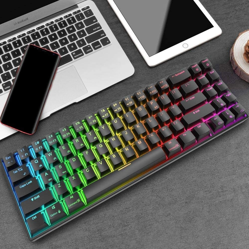 USB Wired RGB Backlit Mechanical Gaming Keyboard Color : Black, Size : Red Switch Lyntop Gaming Keyboard with RGB Backlight 71 Keys Dual Mode Bluetooth 3.0 Black