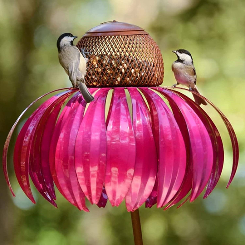 Hummingbird Feeder, Red Coneflower Standing Bird Feeder, Anti-Squirrel Bird Feeder, Outside Rust Resistant Garden Art Metal Birdfeeder with Stand, Yard Outdoor Decoration