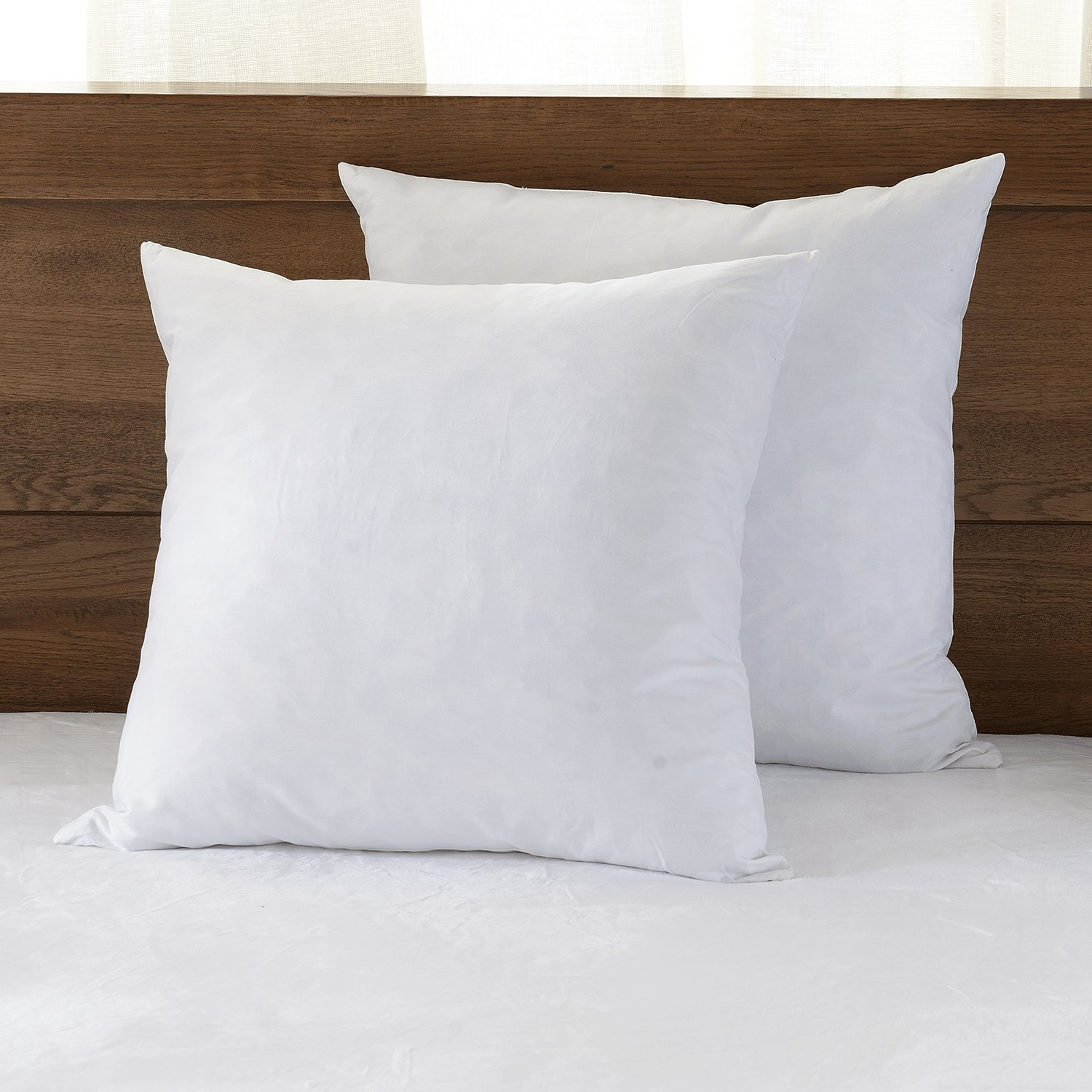 Basic Beyond Decorative Pillow Insert (2 Pack) - Hypoallergenic 100% Cotton Fabric Square 20 x 20 Soft and Bed Pillow Form Inserts