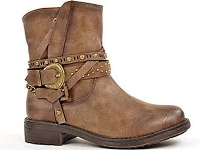 Brown BIKER buckle boots 7 8 size 42~TAN ~ FAUX LEATHER