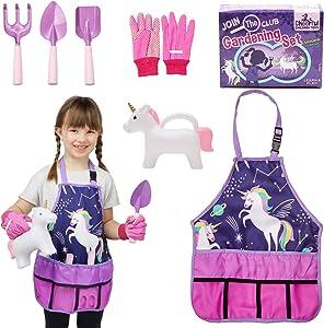 Kids Gardening Set - Kids Gardening Tool Set - Gardening Tools for Kids - Kids Gardening Tools - Kids Gardening - Kids Garden Set - Unicorn Garden Kit for Girls - Gift for Little Girls 3-7 Years Old.