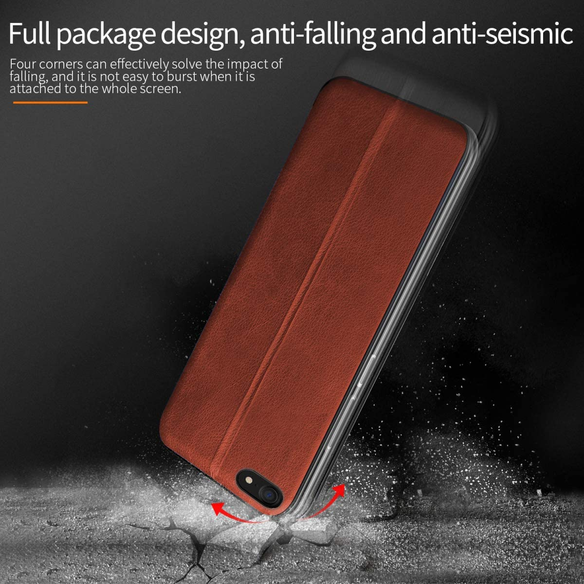 Magnetic Adsorption Fvntuey Wallet Case Magnetic for iPhone 6 Plus//6S Plus with 360/°Bumper Flip Folio, Genuine Slim Vintage Synthetic Leather Card Cover Slots Compatible with iPhone 6+//6S+