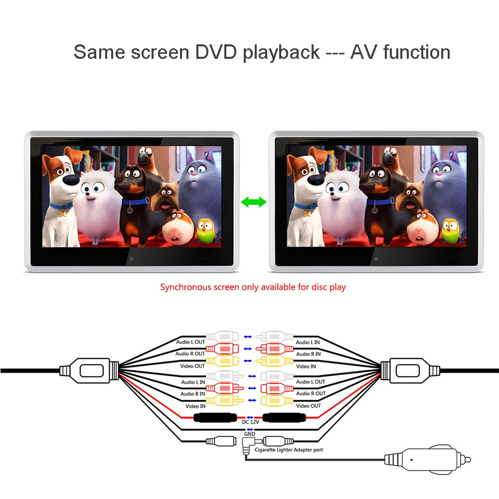 Pair 10 1 inch 1024 600 car headrest dvd player usb sd hdmi ir fm tft - Amazon Com Ddauto Dd101hdts Headrest Dvd Player 1080p Hd Digital Tft Touch Screen Multimedia Monitor For Car Supports Hdmi Usb And Sd Card 10 1 Inch With