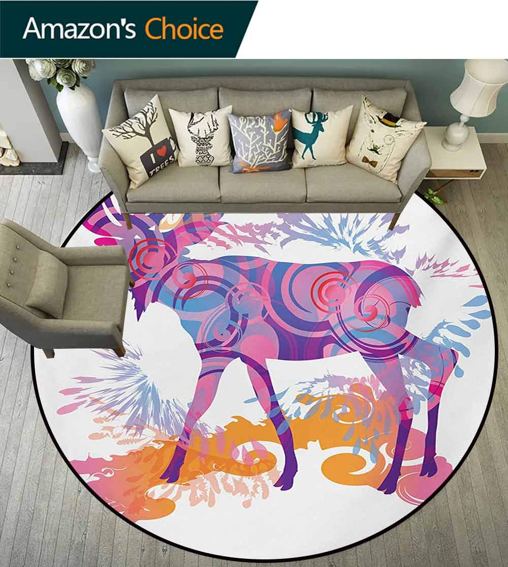 Moose Modern Machine Washable Round Bath Mat,Unusual Deer Figure with Trippy Featured Color Effects Digital Vivid Display Non-Slip Living Room Soft Floor Mat,Diameter-59 Inch by RUGSMAT (Image #1)