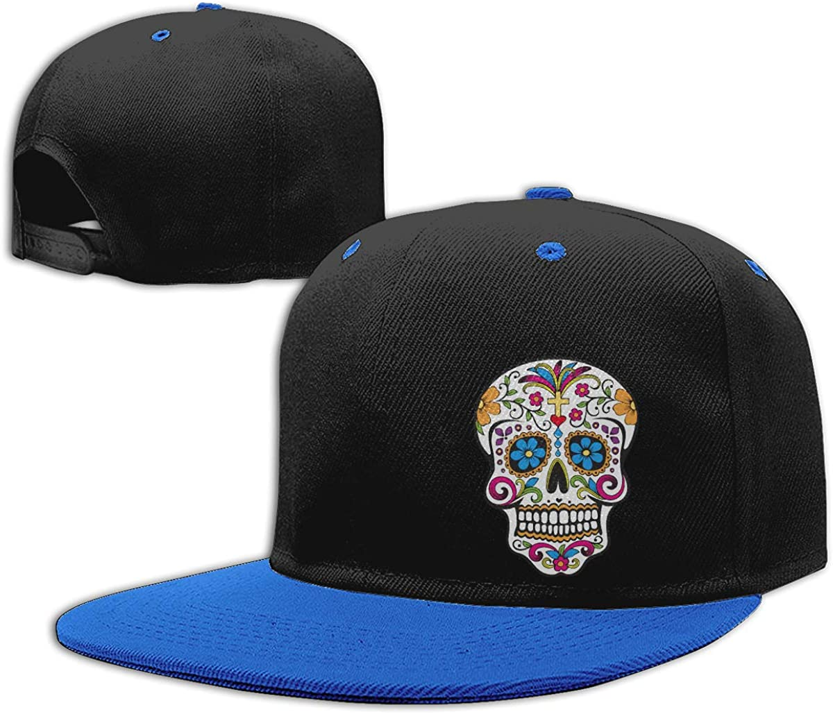 Mexican Skull Adjustable Flat Brim Baseball Caps NMG-01 Men Womens Plain Cap