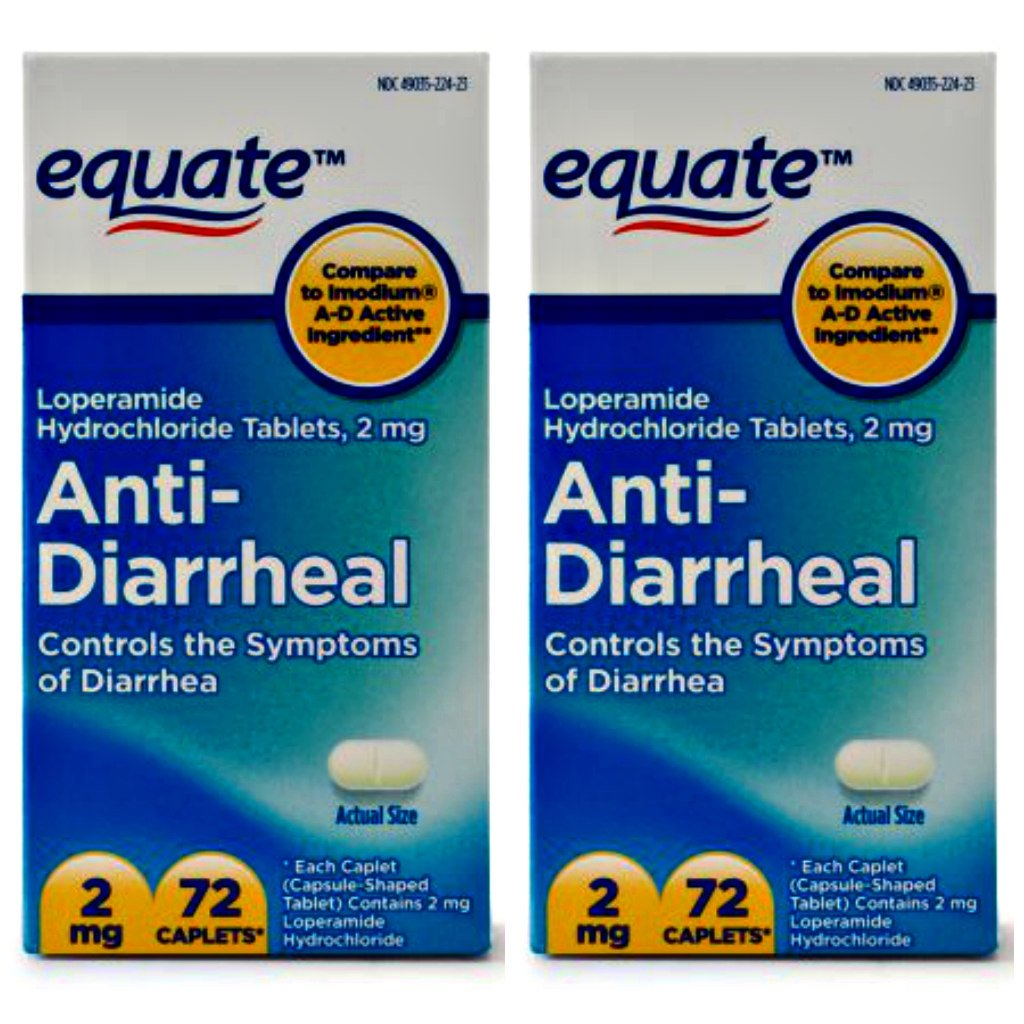 Equate Anti-Diarrheal Loperamide Hydrochloride Caplets, 2 mg, 72 Ct - - PACK OF 2 by Equate