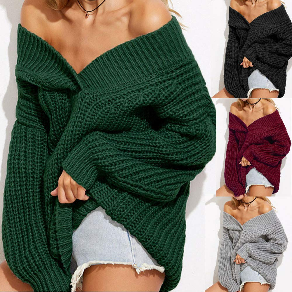Amazon.com  Hemlock Women Oversize Sweater Loose V-Neck Knitted Sweater  Pullover Outerwear Winter Warm Knit Sweater Coats  Clothing 2769477a8