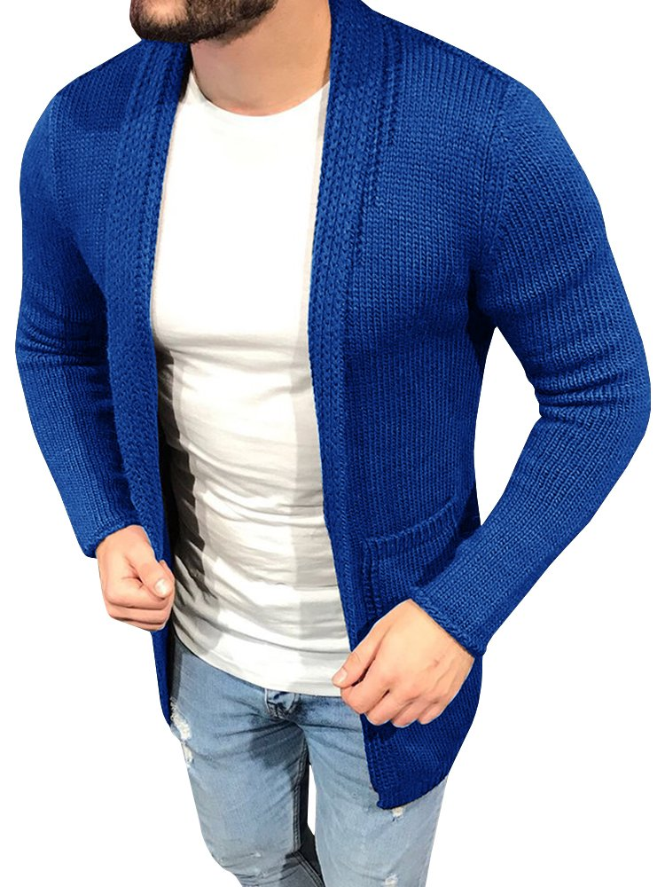 Enjoybuy Mens Shawl Collar Open Front Knit Cardigan Sweater Slim Fit Drape Cape with Pockets