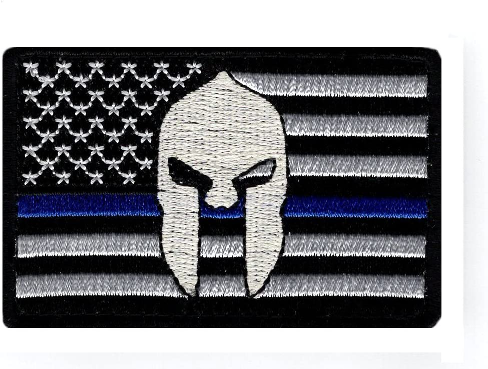 Army Spartan USA Flag MORALE PATCH Hook Loop US COLOR Stars Police Combat *217