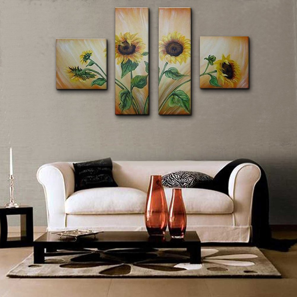 Unixtyle Oil Paintings Sunflowers Sway Hand Painted Canvas Wall Framed Art Landscapes 4 Pieces Flowers Decorations Ready to Hang Contemporary Art