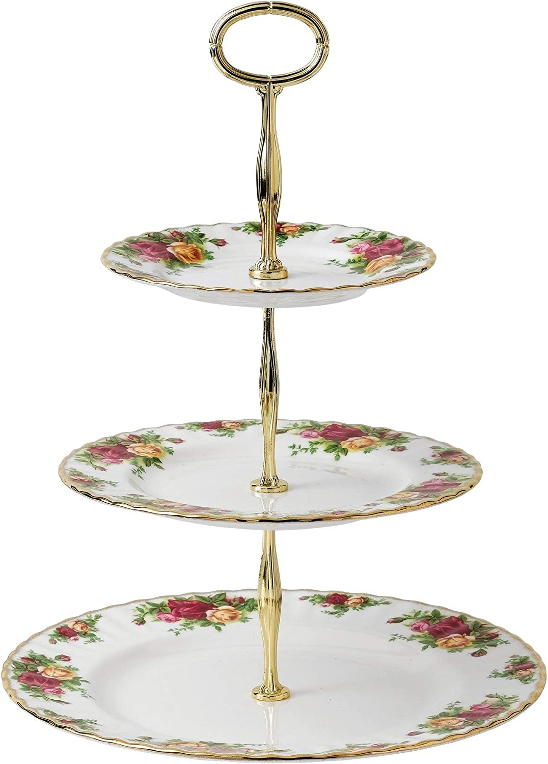 Cheeky Pink Royal Albert 8763026584 New Country Roses Vintage 3-Tier Cake Stand