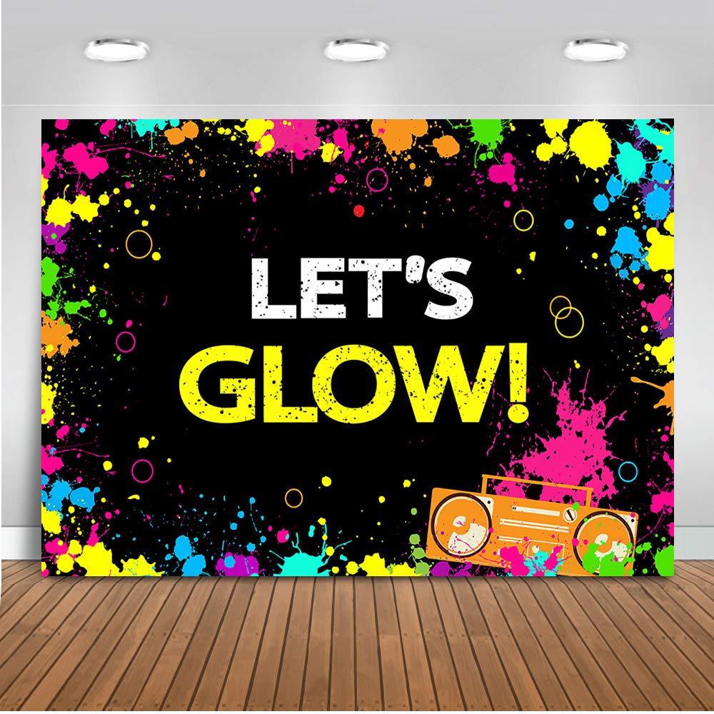 Mehofoto Glow Neon Party Backdrop Let's Glow Splatter Photography Background 7x5ft Vinyl Glowing Party Backdrops Banner Decoration Neon Party Supplies