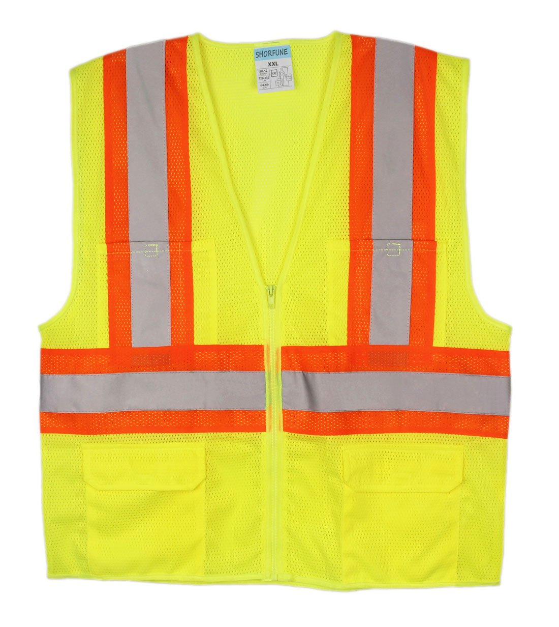 SHORFUNE 1103U High Visibility Reflective Safety Vest with Pockets and Zipper, Breathable Mesh, ANSI/ISEA Standard, Neon Yellow, XXL
