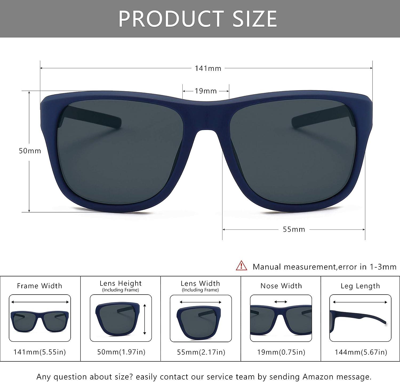 SUNGAIT Lightweight Vintage Polarised Sunglasses for Women Men UV400 Retro Style Blue Frame (Matte Finish)/Grey Lens