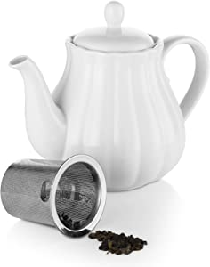 Ceramic Teapot, 30 Ounce Pumpkin Fluted Shape Porcelain Teapot with Removable Stainless Steel Infuser for Loose Leaf and Blooming Tea