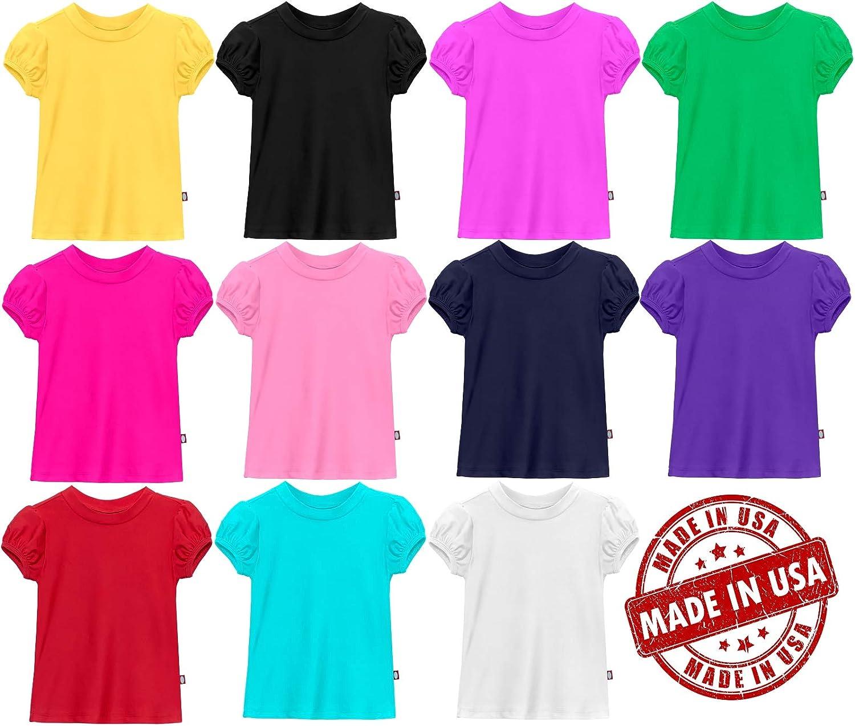 City Threads Girls UPF50 Puff Short Sleeve Rash Guard Swimming Tee Made in USA