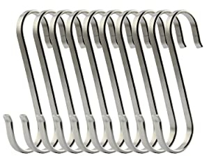 RuiLing 10-Pack Size Large Flat S Hooks Heavy-Duty Genuine Solid 304 Stainless Steel S Shaped Hanging Hooks,Kitchen Spoon Pan Pot Hanging Hooks Hangers Multiple uses.