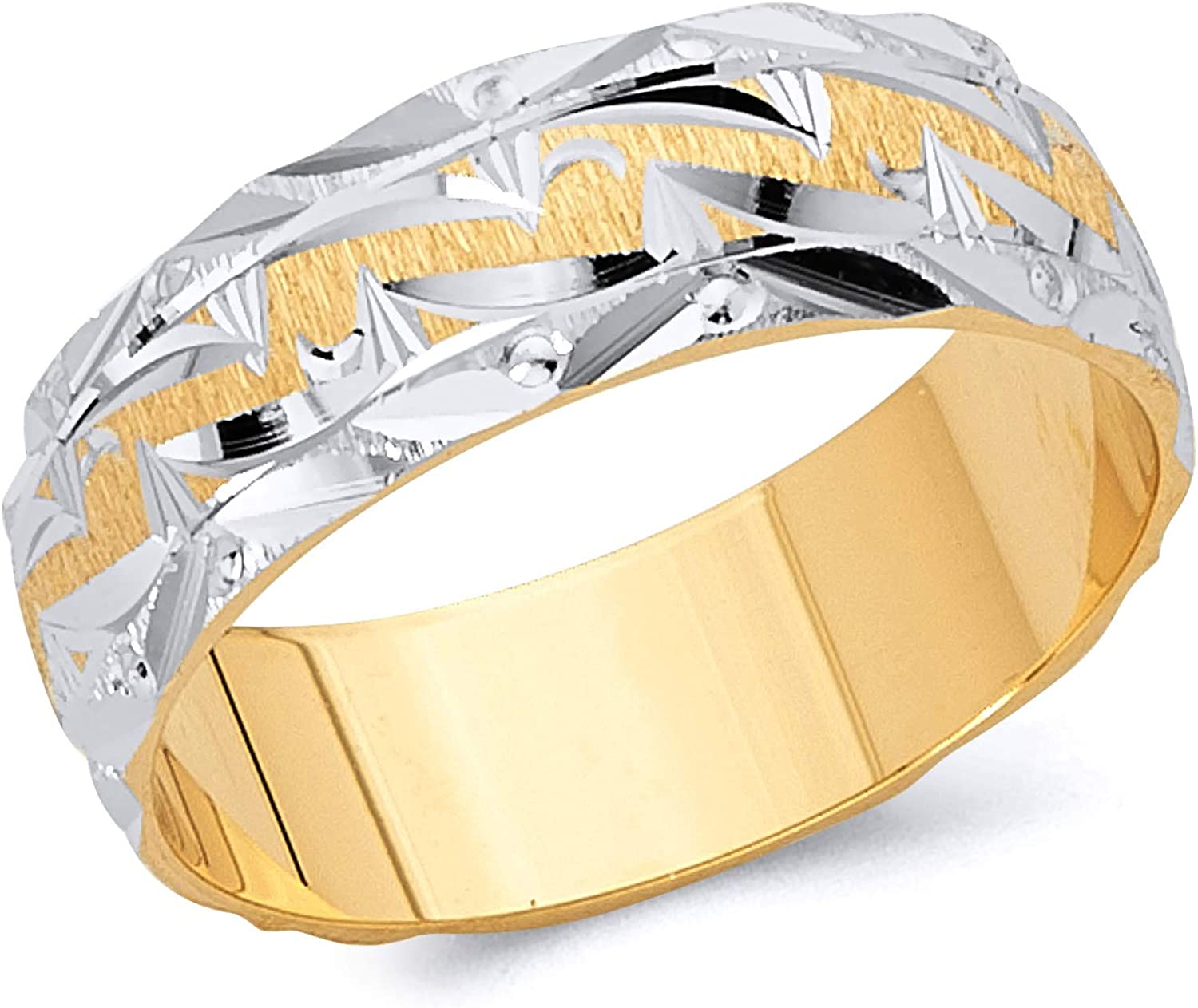 Wellingsale 14k Two 2 Tone White and Yellow Gold Polished Satin 6MM Diamond Cut Classic Fit Wedding Band Ring