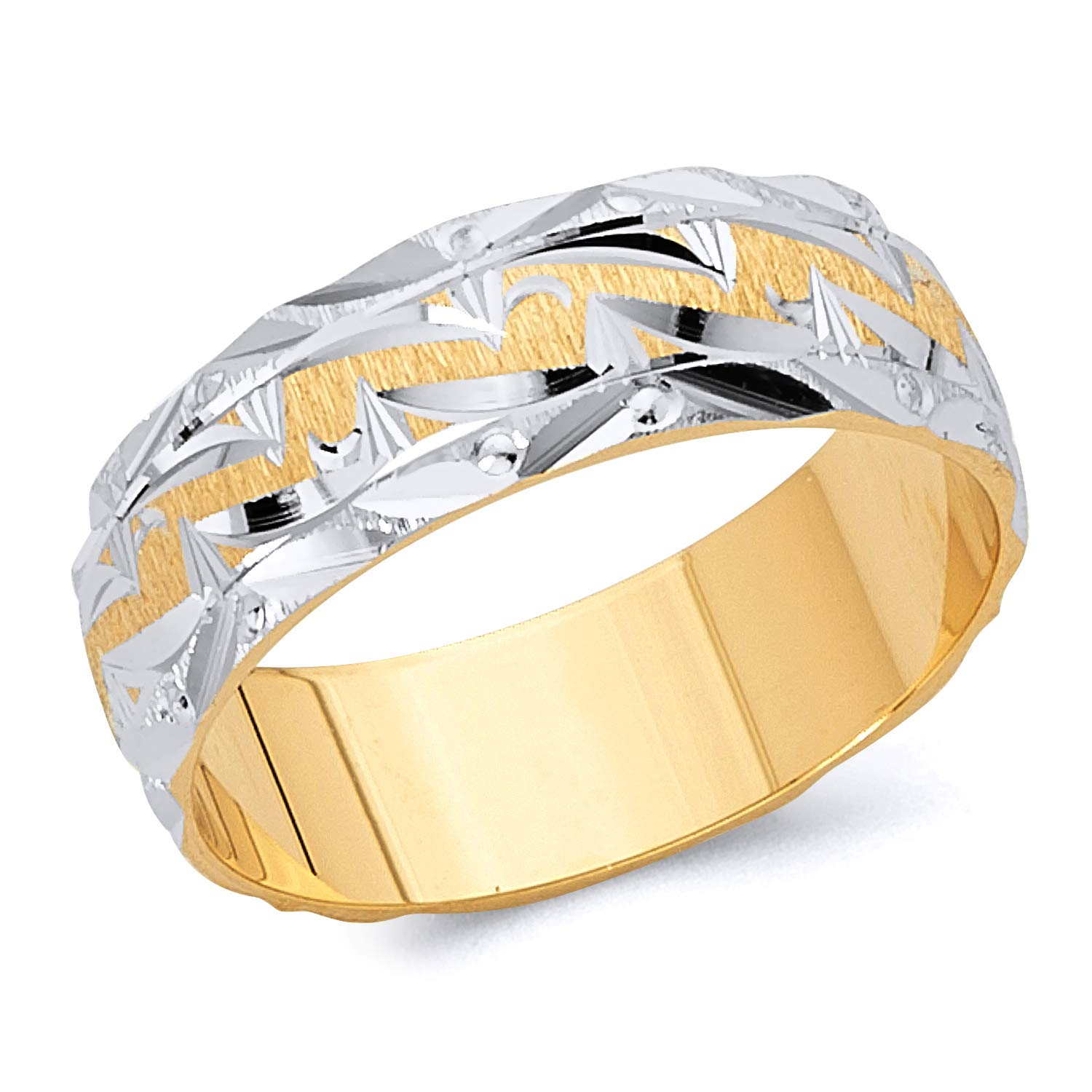 Wellingsale 14k Two 2 Tone White and Yellow Gold Polished Satin 6MM Diamond Cut Classic Fit Wedding Band Ring - Size 11.5 by Wellingsale