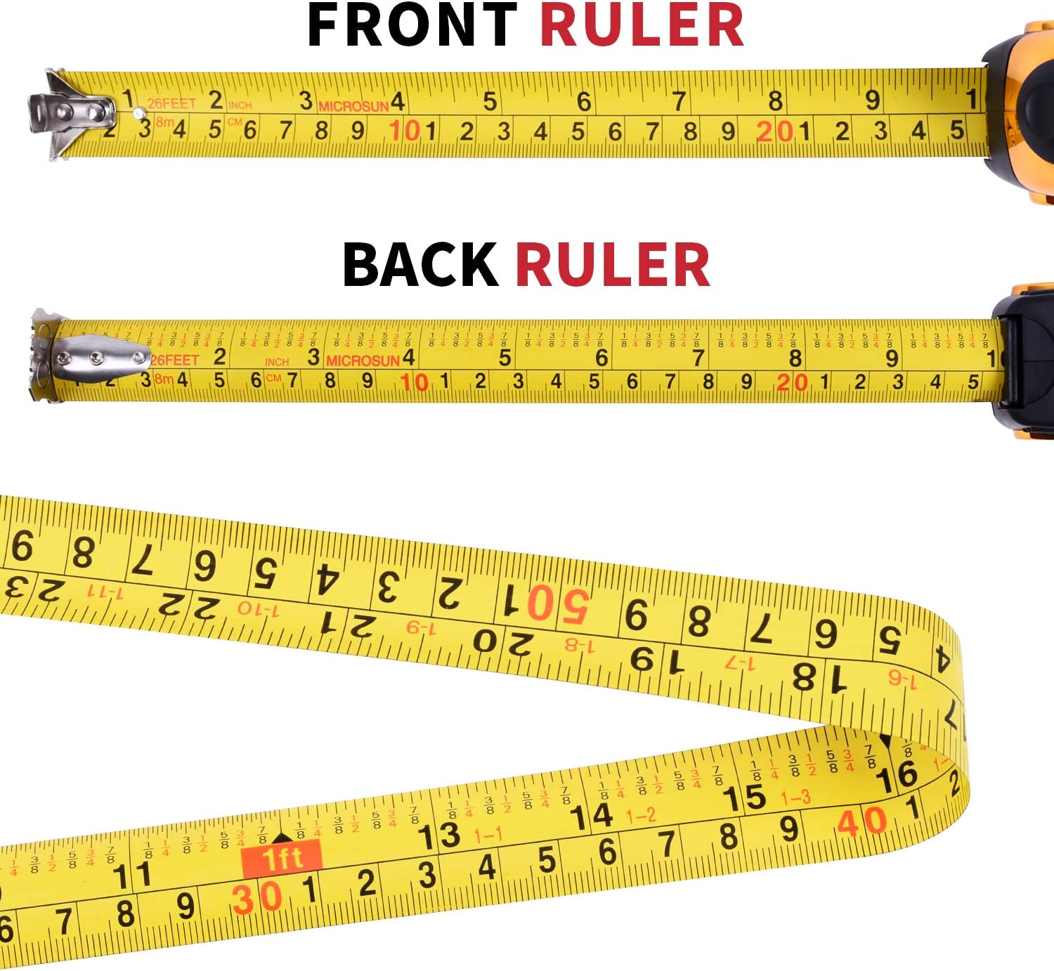 Imperial(Sliver) Metric Inch MICROSUN 26ft Measuring Tape Measure Self Locking Retractable Double Sides Measure Ruler with Shockproof Sturdy Case and Magnetic Hook