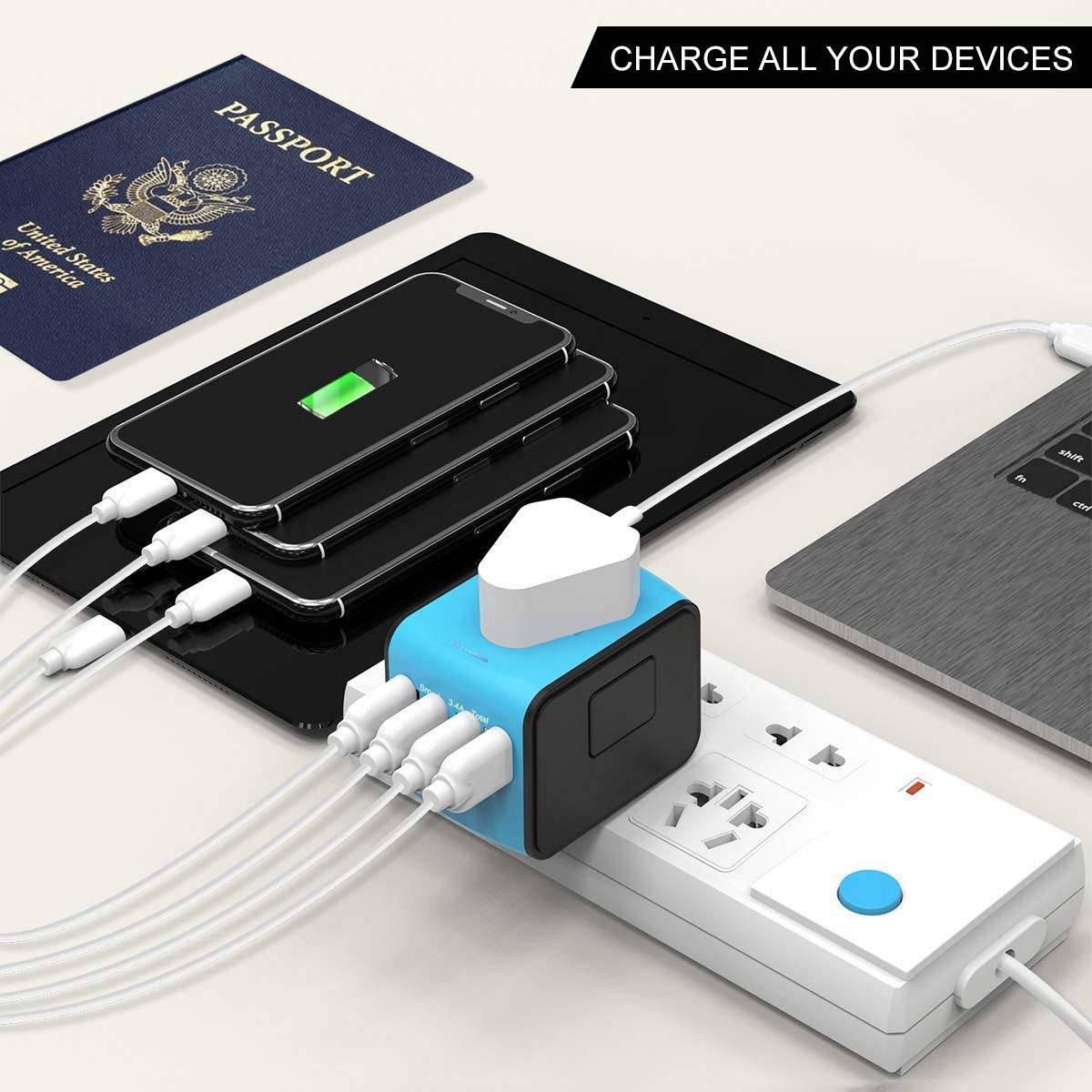 Travel Adapter European Adapter Universal Travel Adapter Worldwide AC Outlet Plugs for Europe UK US AU Asia Blue 4336669429 APzek International Power Adapter with 3.4A 3 USB Type C Travel Charger
