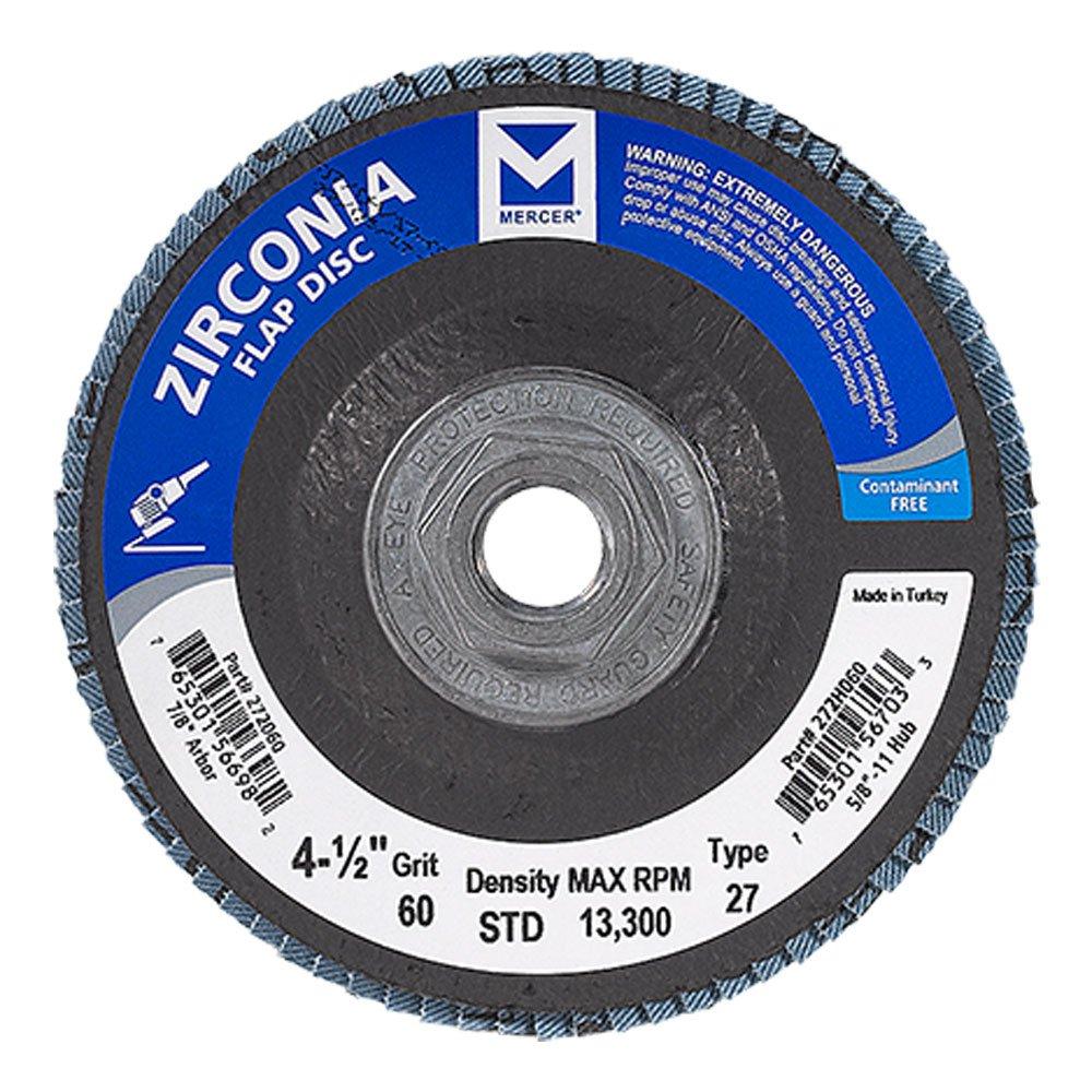 Mercer Industries 272H060 Zirconia Flap Disc, Type 27, 4 1/2'' x 5/8'' 11 Thread, Grit 60, 10 Pack