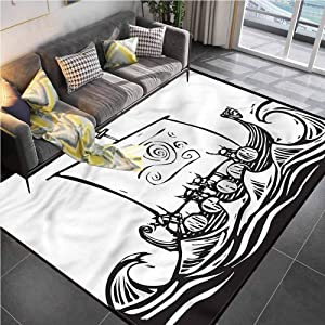 """Area Rugs Print Large Carpet Viking,Long Boat on a Quest Sketch Bathroom Rugs for Living Room Bedroom Playing Room 5'7""""x8'6"""""""