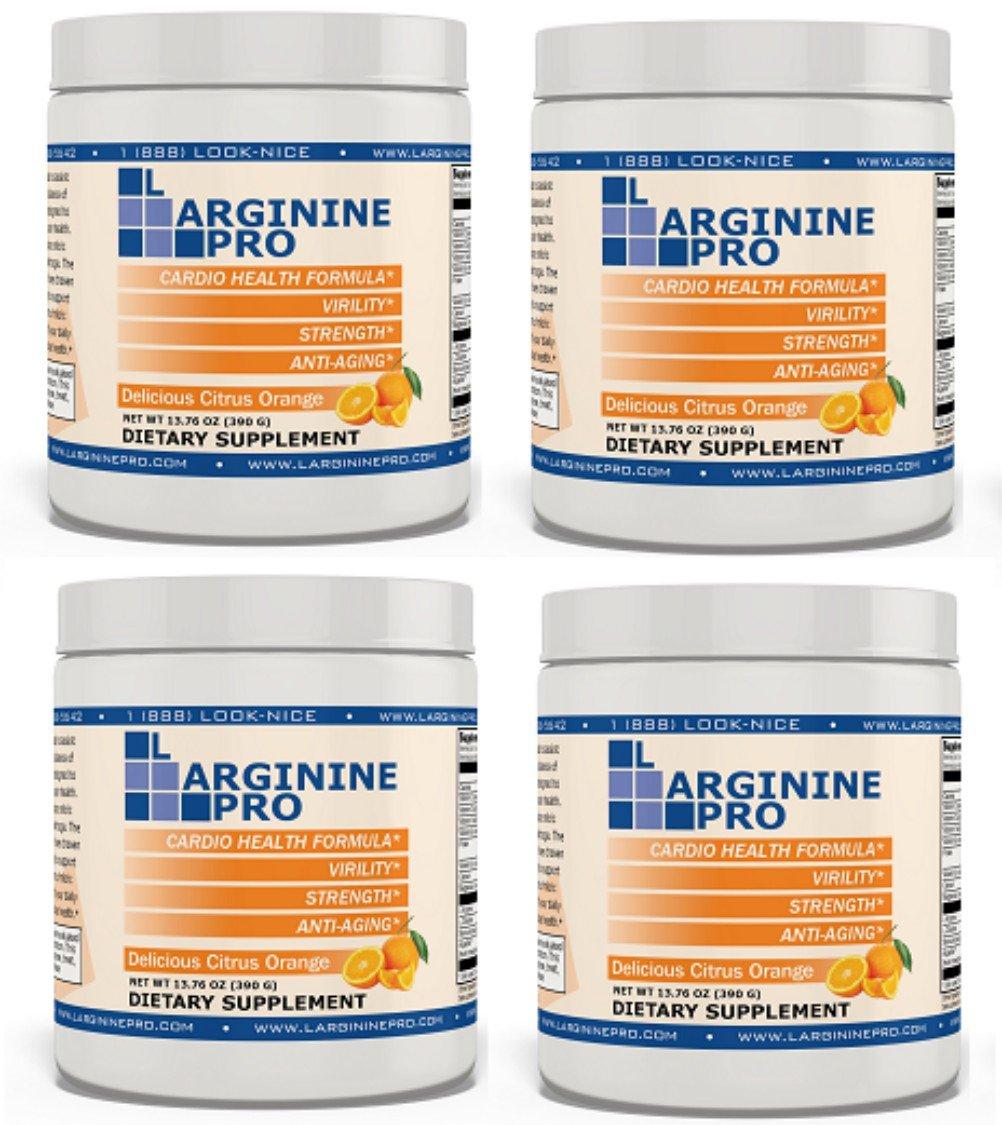 L-arginine Pro, #1 NOW L-arginine Supplement - 5,500mg of L-arginine PLUS 1,100mg L-Citrulline (Citrus Orange, 4 Jars)