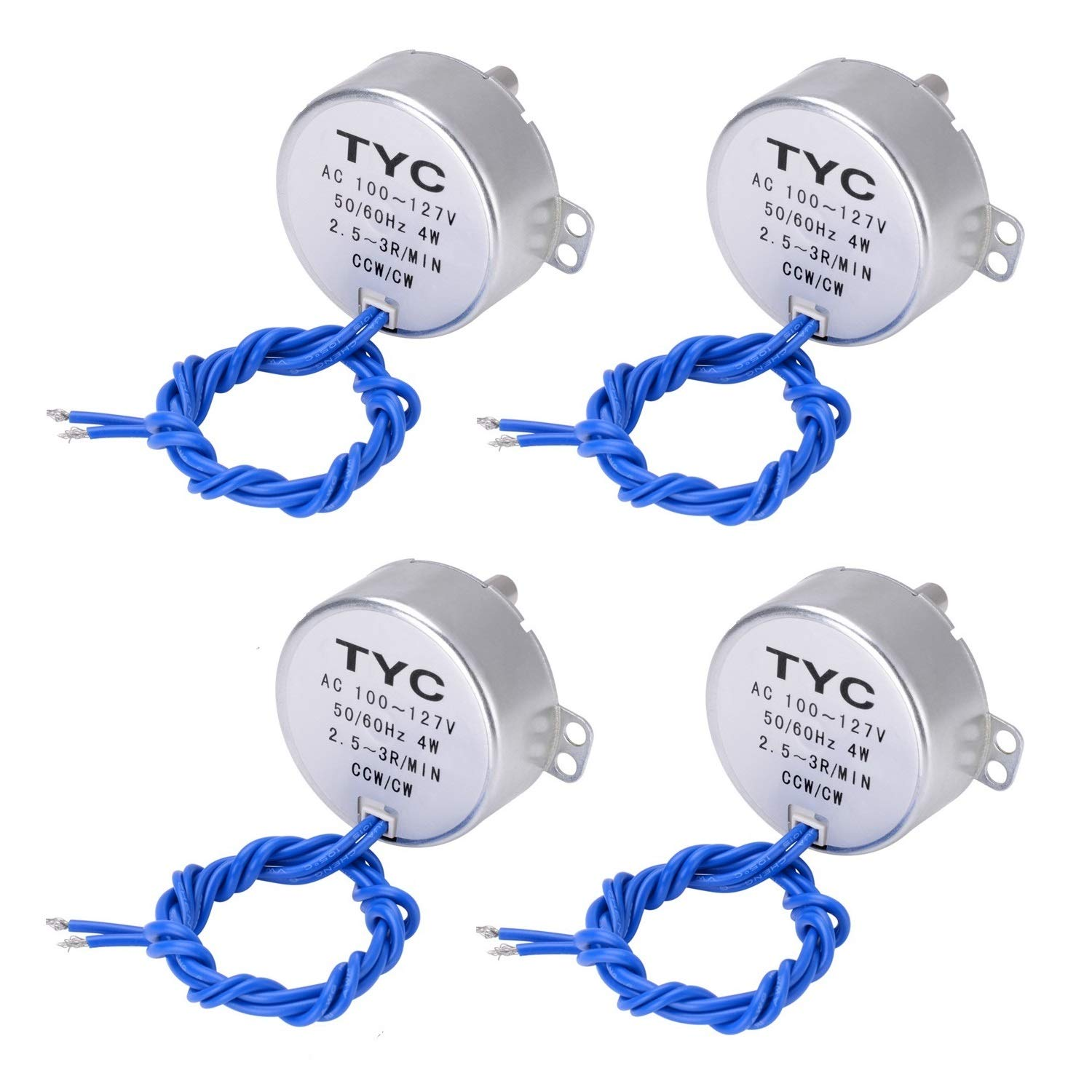 Synchronous Synchron Motor Electric Synchron Motor Turntable Motor Cup Turner Motor 110V 100-127VAC 50/60 Hz 4W 2.5-3RPM/MIN CCW/CW Direction for Hand-Made, School Project, Model or Guide Motor (4PCS)