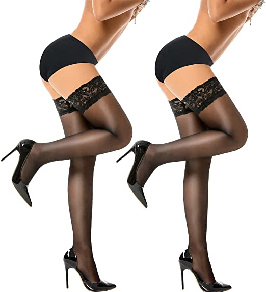 Yours Clothing Wide Fit Women/'s Black Sheer Stocking With Lace Trim